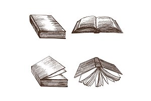 Books Hand Draw Sketch.