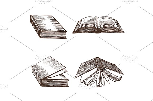 Books Hand Draw Sketch