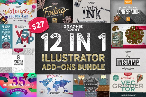 Photoshop Layer Styles: Graphic Spirit - 12 in 1 ILLUSTRATOR Bundle DISCOUNT