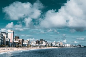 Panorama of Rio beach with buildings