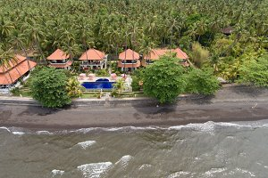 Sea shore with beach and hotel, Bali.