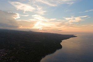 Sunset on the sea coast. Bali, Indonesia.