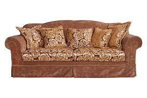 Sofa with decorative upholstery.