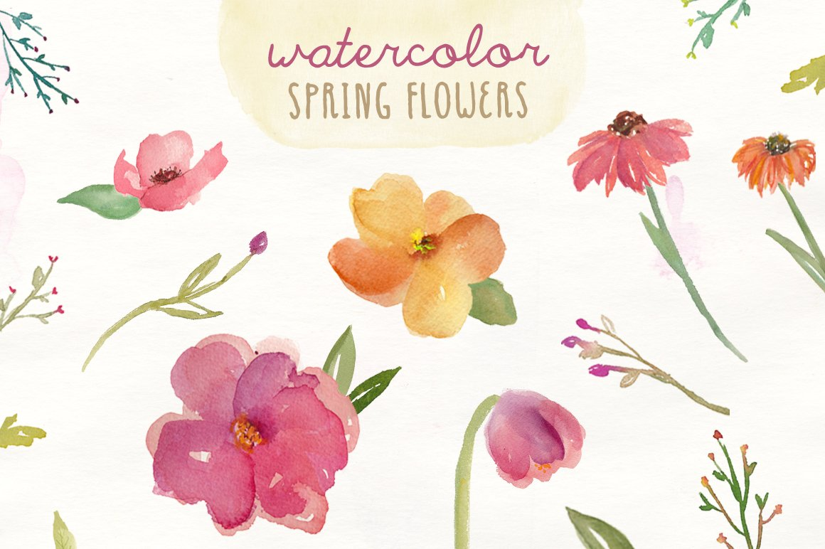 Watercolor spring flowers illustrations creative market for Spring flowers watercolor