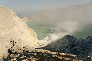 Volcanic crater, where sulfur is mined.