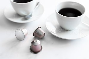 Coffee Cups Coffee Pods Stock Photo