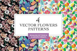 Fabulous vector flowers patterns
