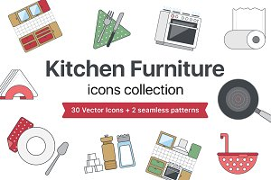 Kitchen Furniture icons set