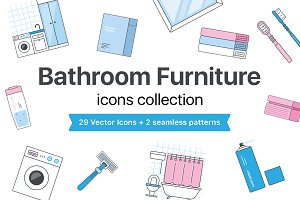 Bathroom Furniture icons set