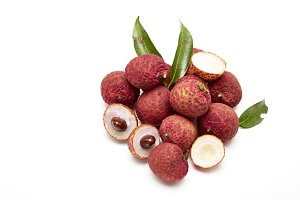 fresh fruit lychees on white backgro