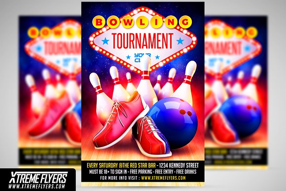 Bowling Flyer Template Flyer Templates Creative Market