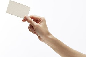 Woman hand hold business card