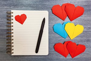 Notepad with hearts.