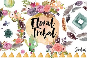Floral tribal clip art, hand painted