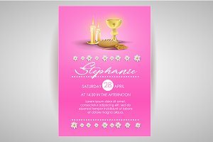 Pink religious invitation card