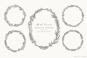 Hand Drawn Wreaths - Black & White