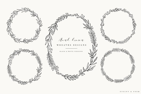 Hand Drawn Wreaths - Black & White
