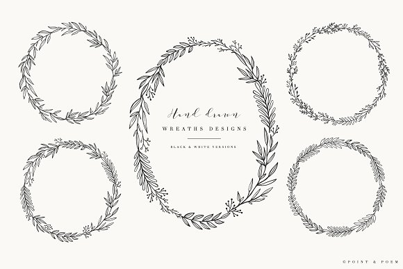 Hand Drawn Wreaths Black White