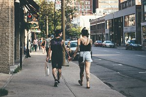 Urban Fashion Couple Tattoo Street