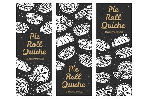 Meat pie, roll, quiche banner illustration