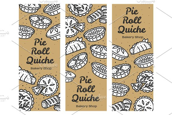 Meat Pie Roll Quiche Banner Illustration