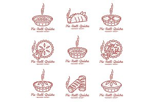 Meat pie, roll, quiche illustration