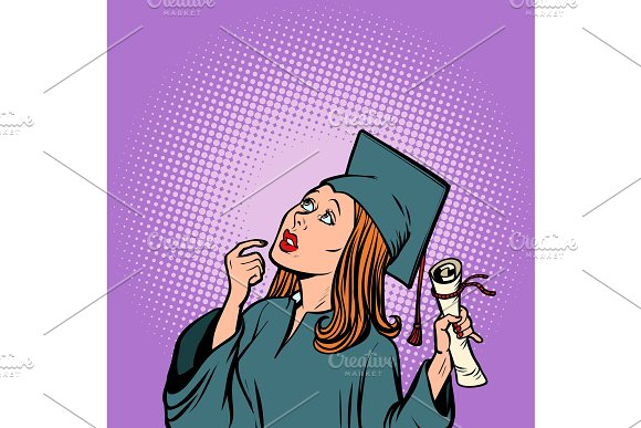 girl graduate thought, the student of College and University