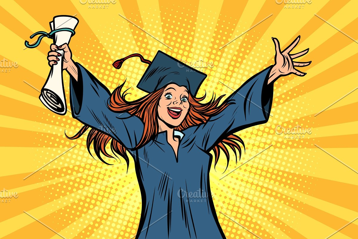 happy graduate girl student of the College or University