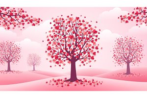 Valentines Day trees, pink landscape