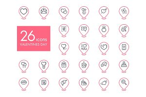 Valentine day set pin map icons