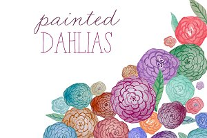 Watercolor Flowers - Dahlias