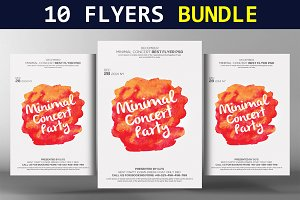 10 Abstract Party Flyers Bundle