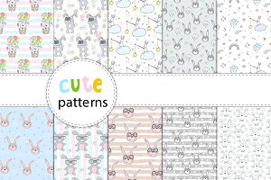 40 Patterns with cute rabbit