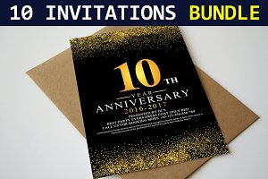 10 Invitation Cards Bundle