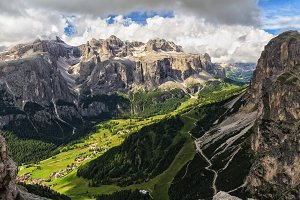 high Badia Valley in Dolomites