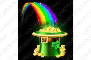 St Patricks Day Leprechaun Rainbow Hat of Gold