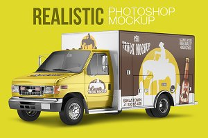 Realistic PSD Truck Mockup