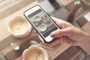 Food photo of soup on table for social networks