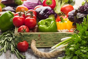 Colored vegetables and greenery