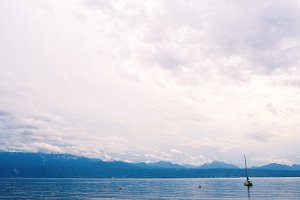 Boat sailing on Lake Geneva