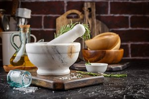 Herbs and Spices, Mortar and Pestle, Rosemary, Olive Oil and Salt