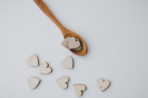 Wooden spoon and hearts