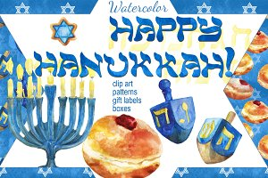 Happy Hanukkah watercolor set