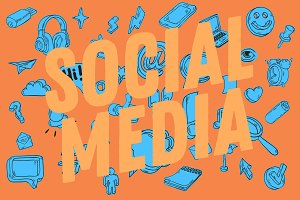 Social Media Hand Drawn Icons Set