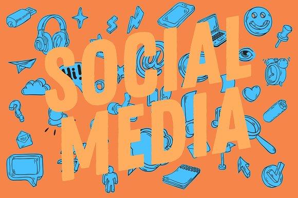 Social Media Hand Drawn Icons Set