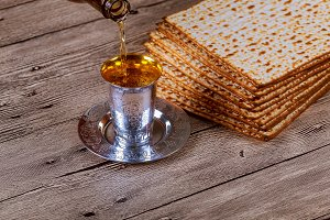 passover matzo with kiddush cup wine