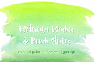 Green & Yellow Watercolor Clip Art