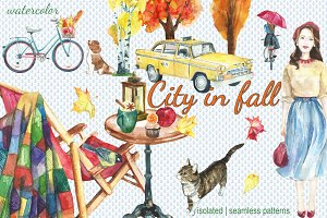 City in fall watercolor set
