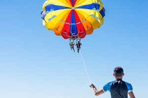 People parasailing in Dominicana