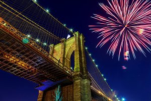 Firework over city night Brooklyn Br